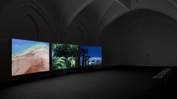 "John Akomfrah ""Vertigo Sea"" (2015). Installationsview. Nikolaj Kunsthal. Foto: Léa Nielsen"