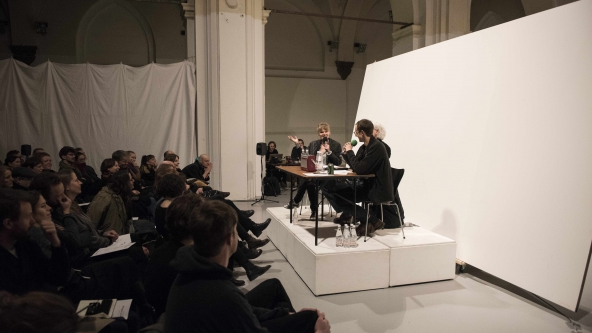 "The Lake: ""Works for Radio"" (2016). Dokumentation af premiere-event 9. januar 2016. Nikolaj Kunsthal. Foto: Magnus Kaslov"
